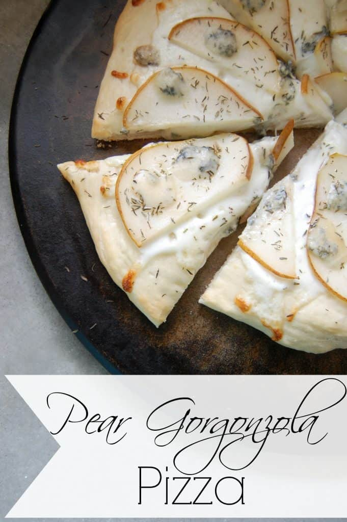 Pear Gorgonzola Pizza - Want to impress all your family and friends? Then you need to start making this pear gorgonzola pizza! This pizza just screams creative deliciousness and yet it's so easy to make! #pizza #homemade #pear #gorgonzola