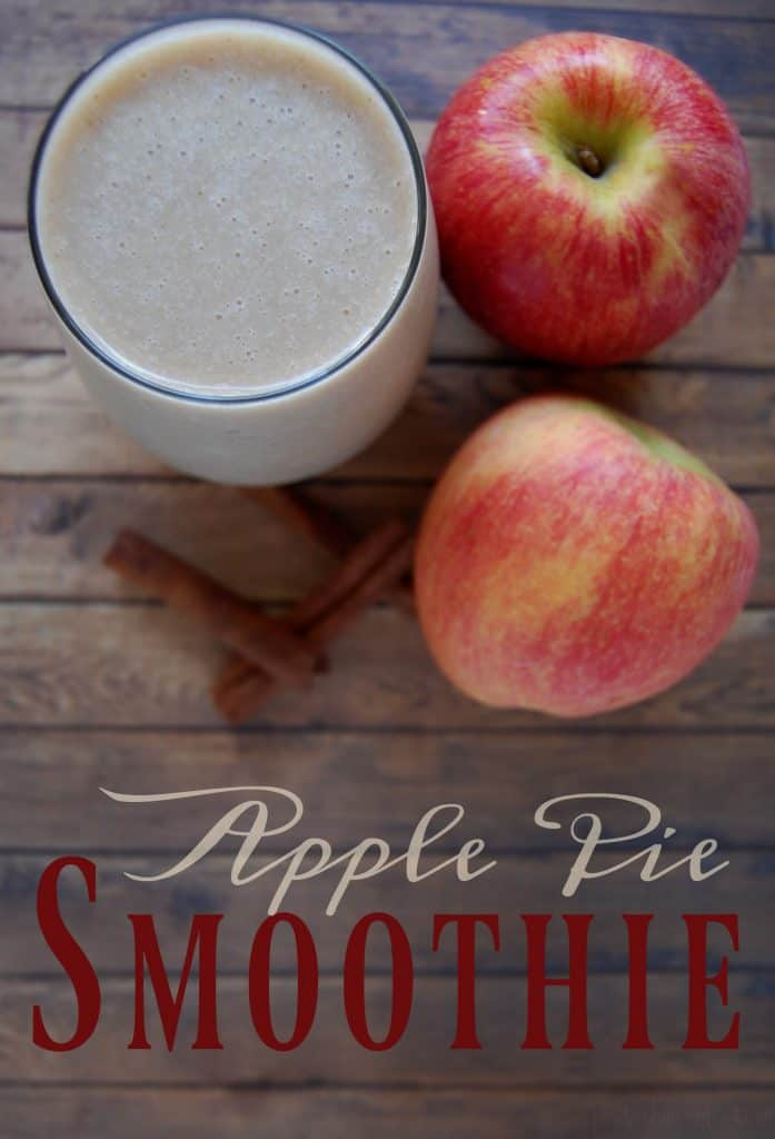 """Apple Pie Smoothie - The great thing about this smoothie is that while it has obvious """"dreaming of fall"""" flavor it is still a nice cool drink on a warm """"still summer"""" day. So even if you are in the hotter regions and fall seems a long ways away, you can whip up this smoothie and imagine it's a crisp fall day. #fall #smoothie #healthybreakfast #apple #applepie #fallfoods"""