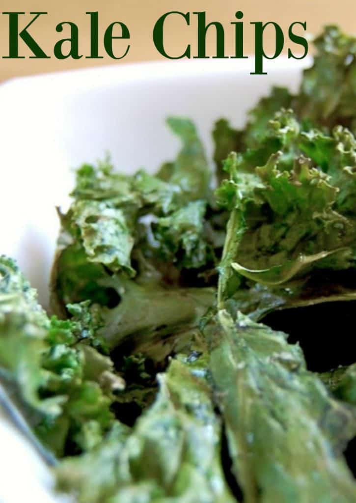 Kale Chips - if you are wanting a very healthy chip alternative or just a way to get your kids to eat their veggies, this is it! When you bite into a kale chip, you almost think it's a regular chip. Same crispy crunch, same lovely salt taste, just with a slight veggie flavor. #kale #kalechips #healthy #snacks