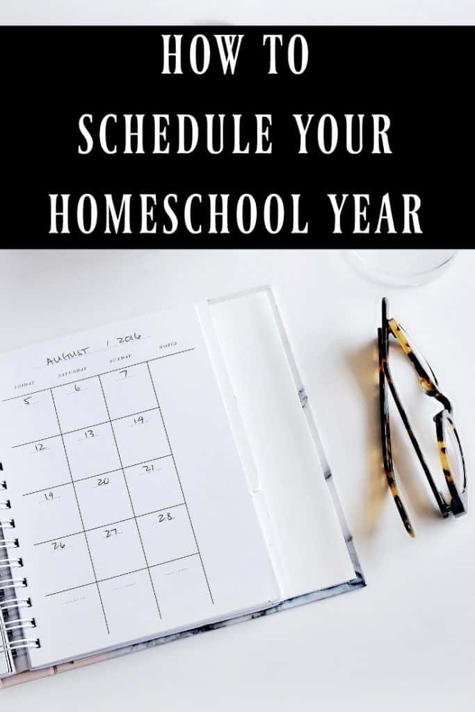 Here are 7 different homeschool schedule options because there is no right or wrong schedule. It really just depends on what will work best for your family. Learn how to schedule your homeschool year. #homeschool #homeschooling #planning #schedule #schoolschedule