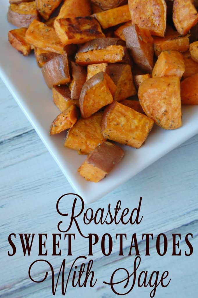 These roasted sweet potatoes with sage make a great side dish, a great alternative to french fries, or healthy snack! Paleo friendly! #sweetpotato #roasted #healthy #sidedish #paleo