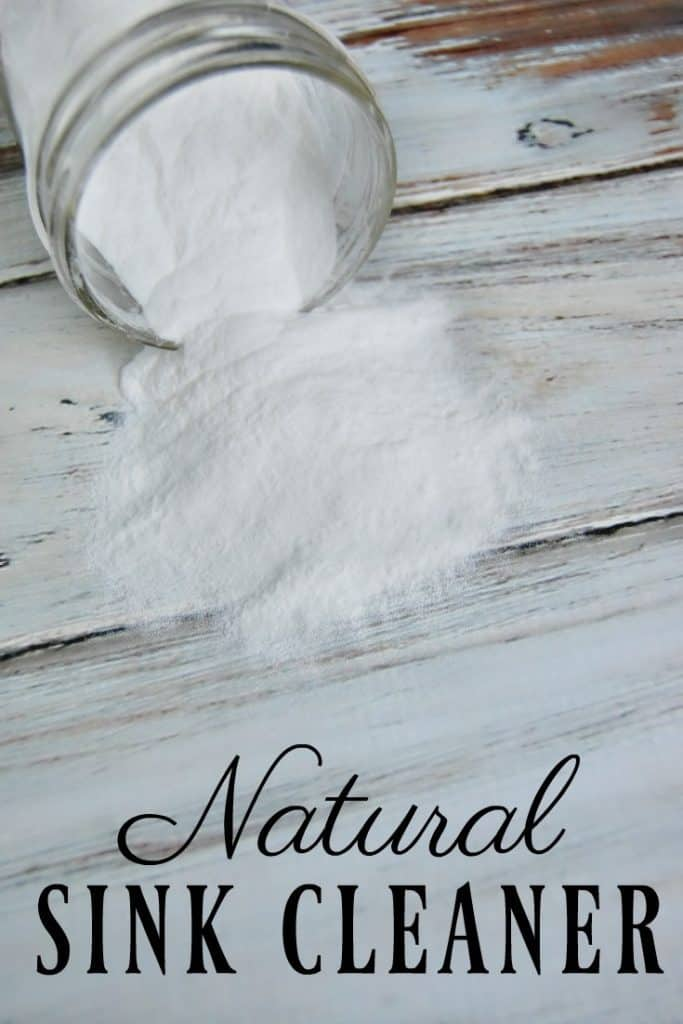 This natural sink cleaner is the simplest green cleaning product you will ever make. It is literally one ingredient! No mixing, storing, measuring... nothing. Just sprinkle and scrub. #greencleaning #natural #sink #clean #scrub
