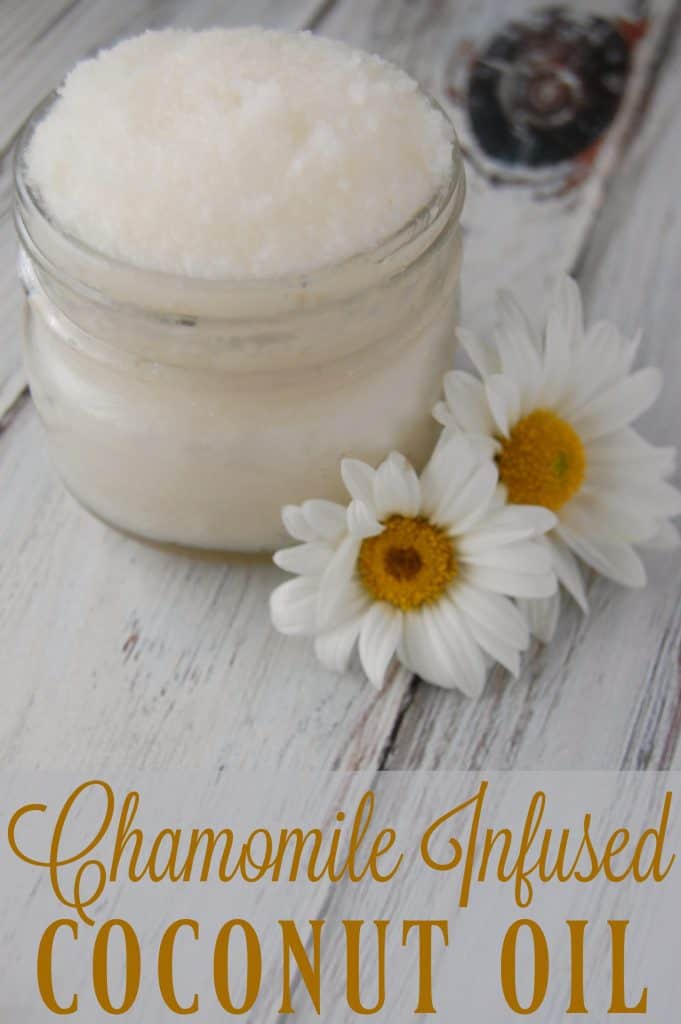Chamomile Infused Coconut Oil - Super simple and you can even use tea bags! Great for soothing dry skin. #coconutoil #chamomile #eczema #moisturizer #naturalskincare