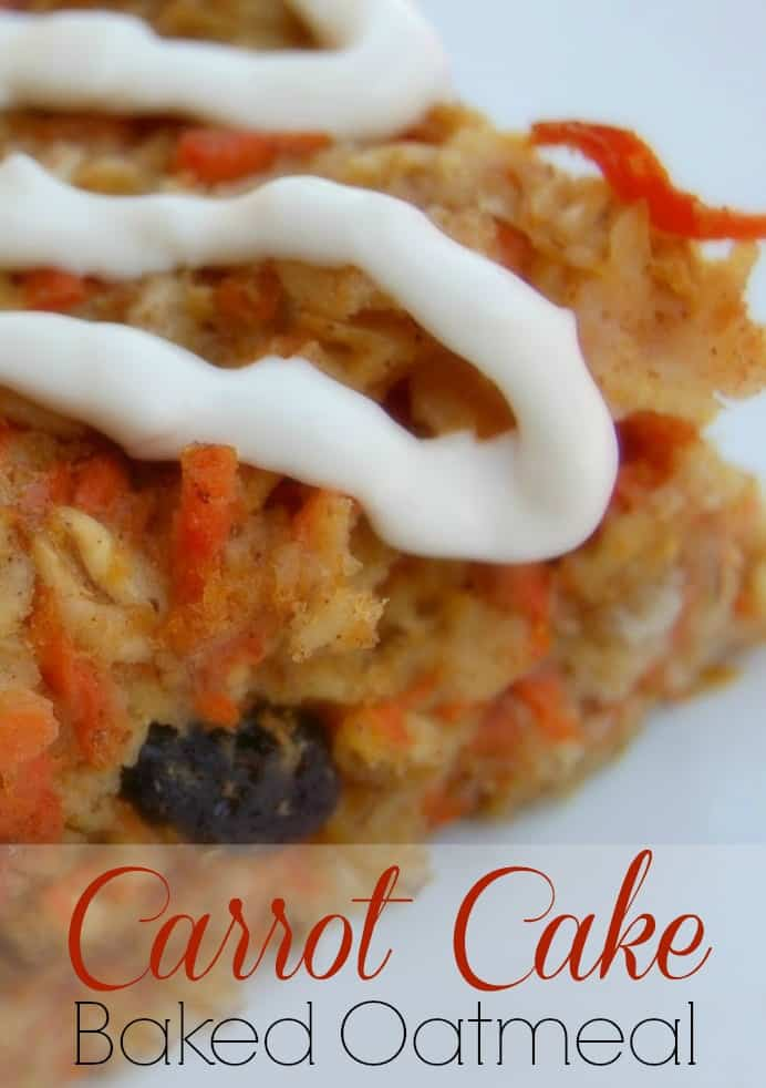 Carrot Cake Baked Oatmeal - It's like eating dessert for breakfast but it's packed with healthy ingredients! #carrotcake #bakedoatmeal #oatmeal #healthybreakfast #breakfast