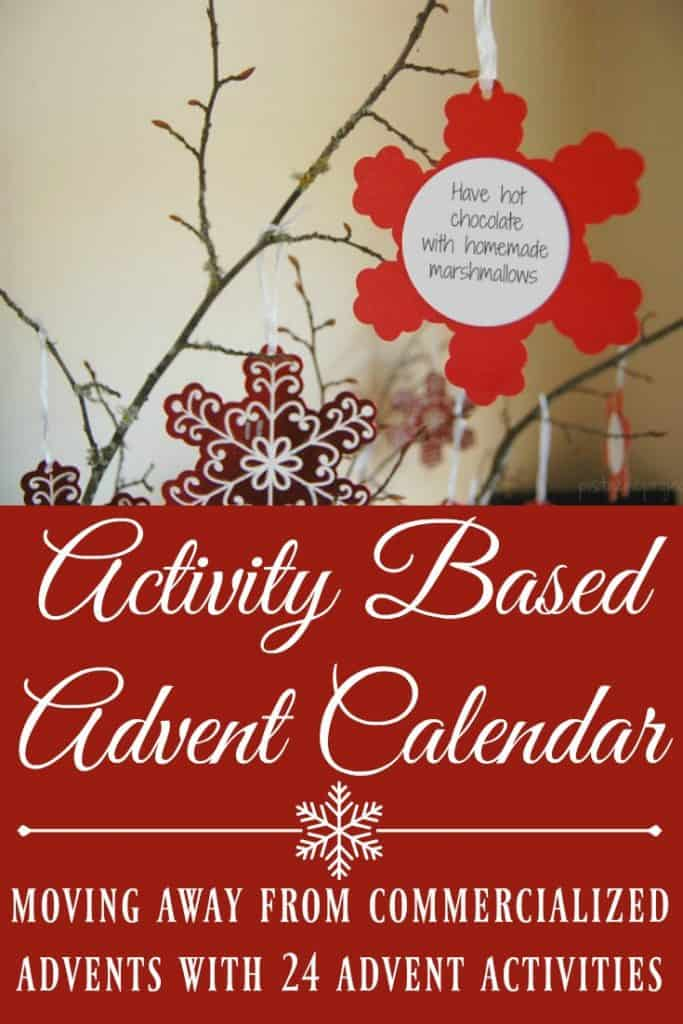 "This Activity Based Advent Calendar will help you celebrate Christmas with your kids with more bonding time and less ""stuff"". #christmas #advent #adventcalendar #holidays #holidayactivites"