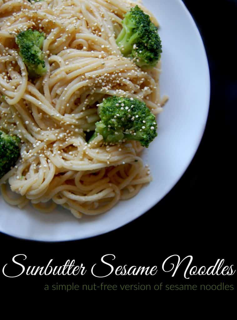 Sunbutter Sesame Noodles this is a great nut free alternative to standard sesame noodles! This dish is nice and easy. You can whip up the sauce while the noodles and broccoli are cooking and then you just toss it all together at the end. #sesame #sunbutter #noodles #pasta #healthy #nutfree