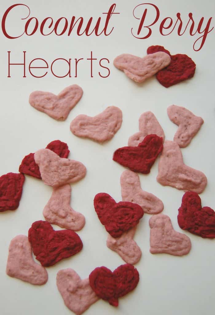 These coocnut berry hearts are a healthy alternative to converstaion hearts. They make a great Valentine's Day treat. #valentines #hearts #coconut #diy #homeamde
