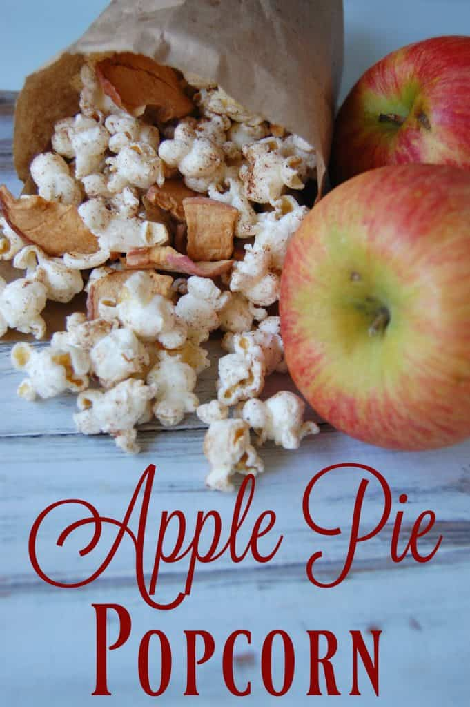 Apple Pie Popcorn - This tastes so delicious and yet it's a completely healthy snack! Sugar free, healthy fats, and tons of fiber! #applepie #healthysnack #schoolsnack #fall #movienight #popcornseasoning