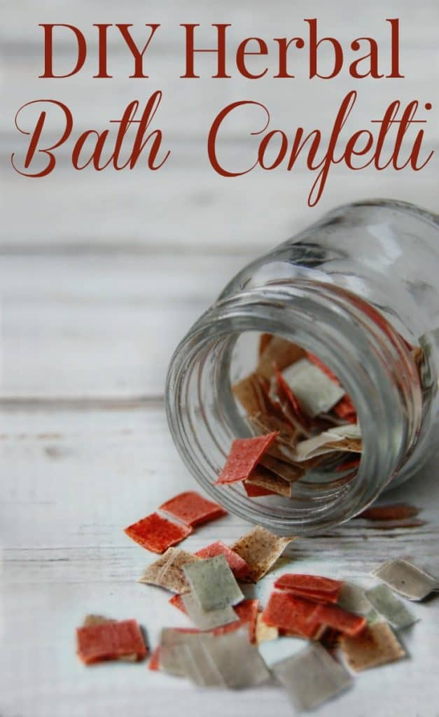 Do you remember bath confetti? Now you can make your own! This DIY Herbal Bath Confetti is fun to make and to use! Plus it's all natural! So much fun and makes a great gift too! #bathconfetti #bath #herbal #diy #greenbeauty #diygifts