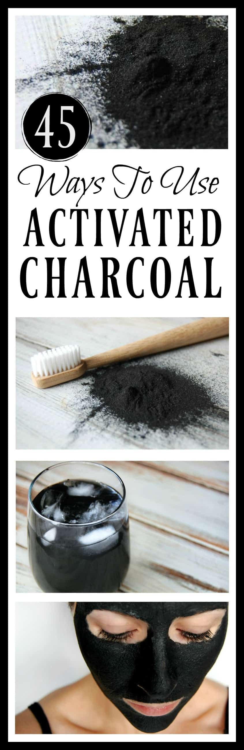 Looking for more ways to use activated charcoal? There are so many ways to use activated charcoal. In fact, here are 45 ways to use it in skincare, remedies, the home, and even food!
