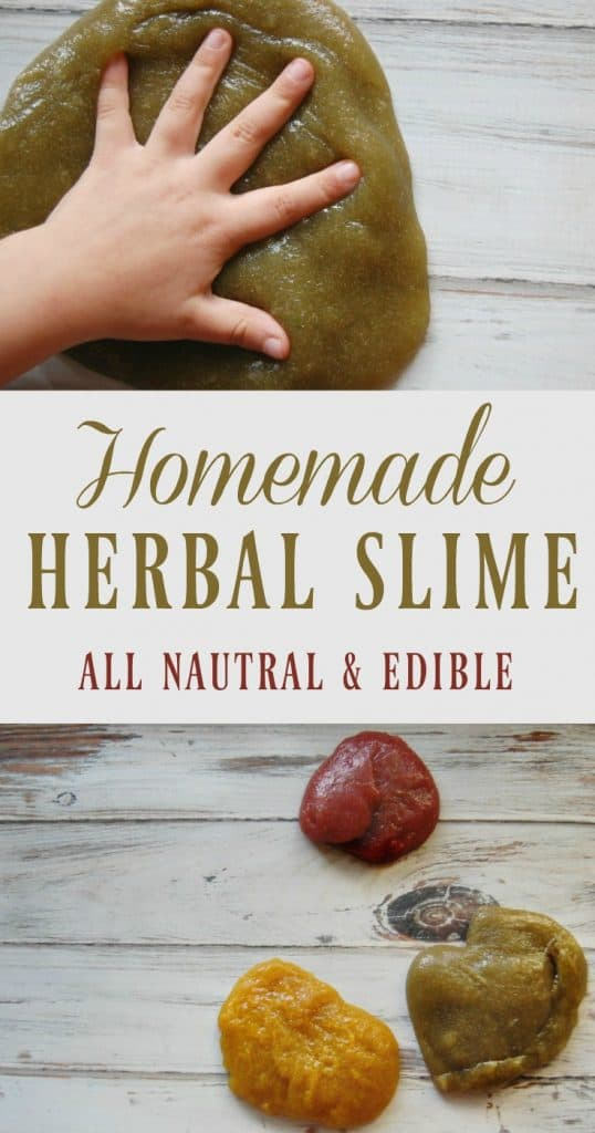 This homemade herbal slime is guilt free! No toxins, borax free, no glue! Just 3 ingredients (one of them is water) and it's 100% edible!