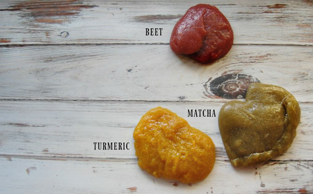 Herbal Slime in beet, turmeric, and matcha