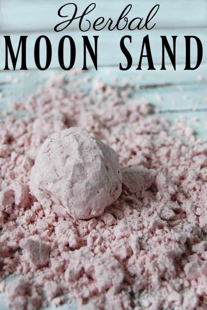 Looking for the world's easiest (and safest) sensory play? Herbal Moon Sand is where it's at! Squish it, mold it, crumble it moon sand is hours of non-toxic entertainment. #moonsand #clouddough #herbal #nontoxic #tastesafe #sensoryplay #crafts #coconutoil #homemade